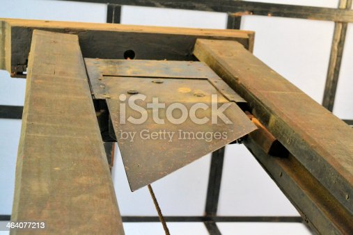 An old wooden guillotine used for executions and left by the French in Saigon, Vietnam