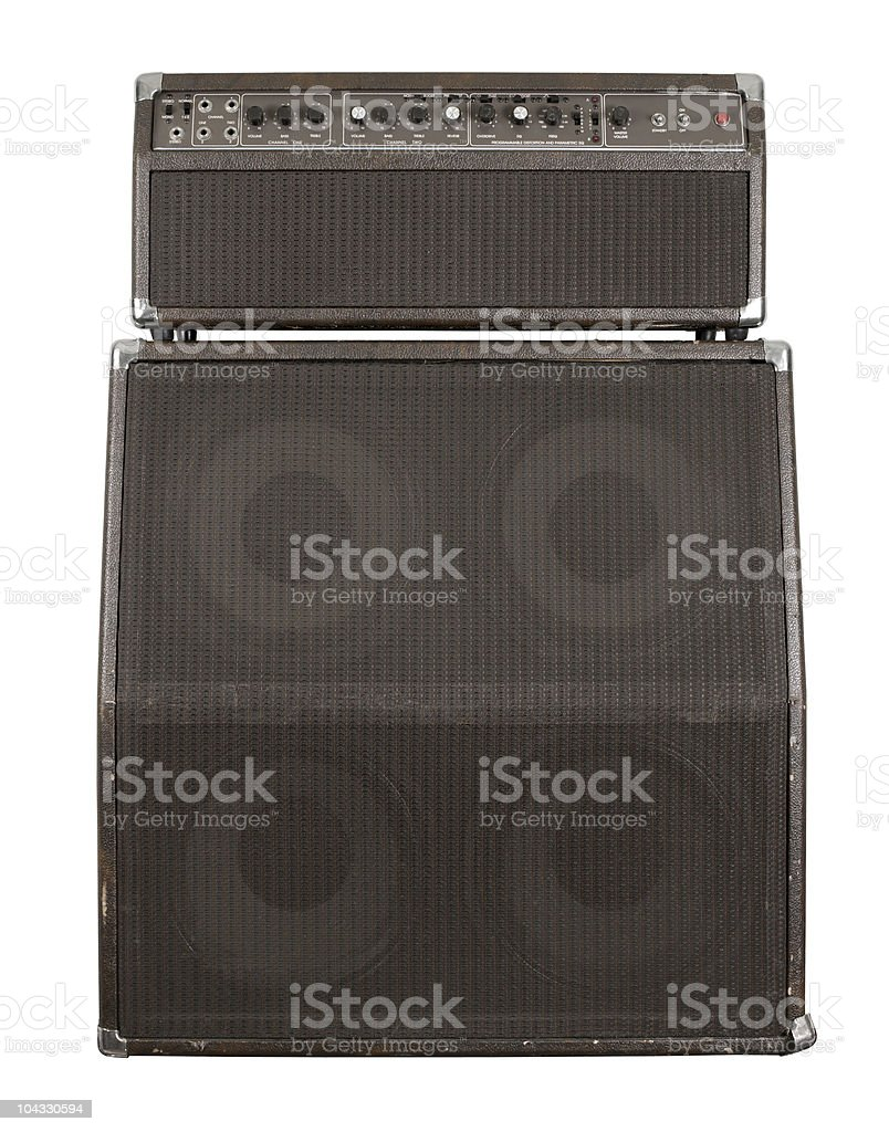 Old guitar amplifier combo stock photo