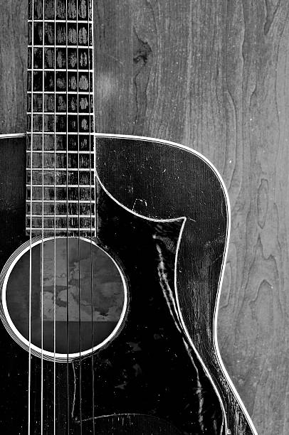 old guitar black and white stock photo