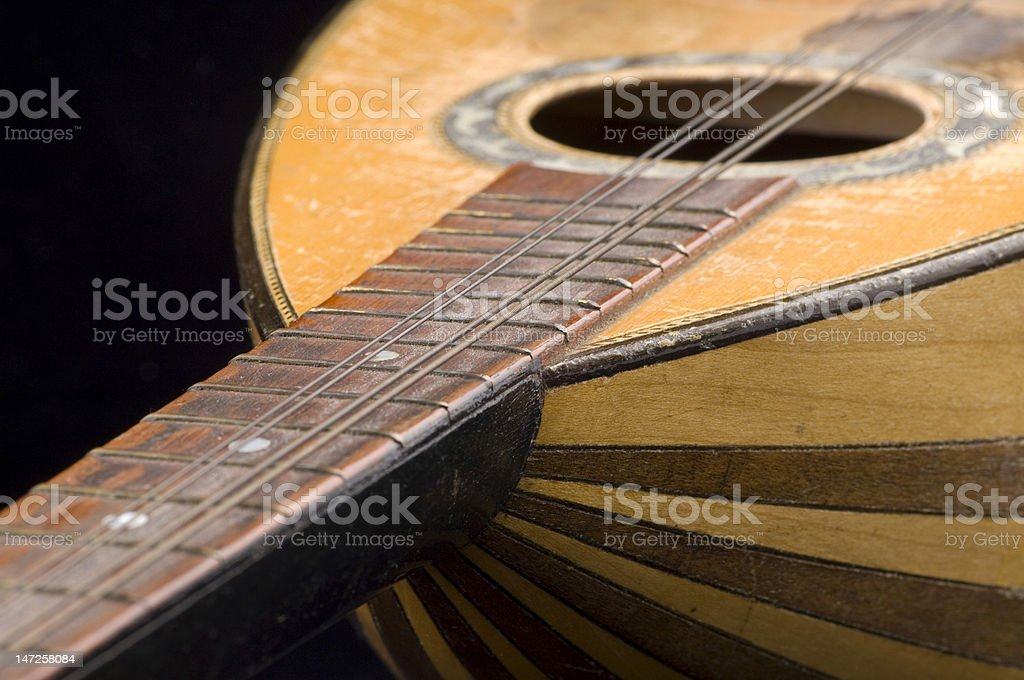 Old guitar closeup stock photo