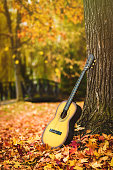 Old guitar on a blanket on the ground in a park. Autumn photo.  Fall leaves on the ground.