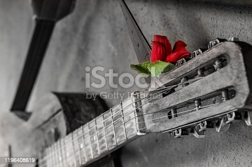 1014432572 istock photo old guitar on concrete wall background with blurred front and back background with bokeh effect 1196408619
