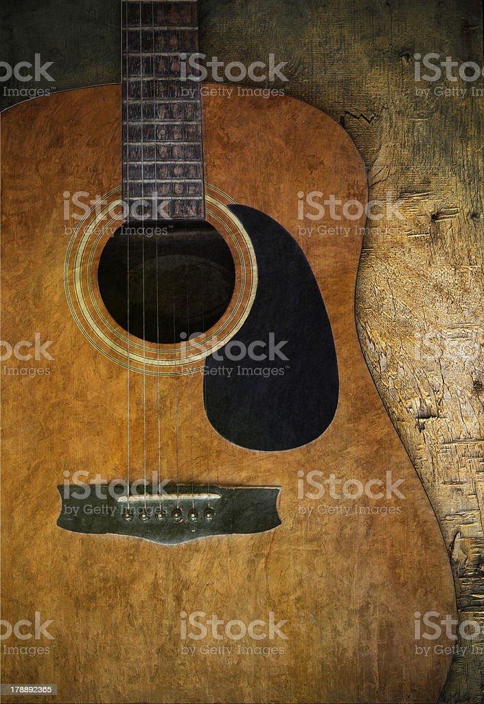 Violão velho na textura de madeira - foto de acervo