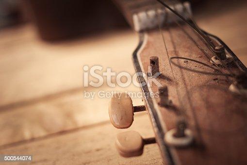 old guitar on grunge wood