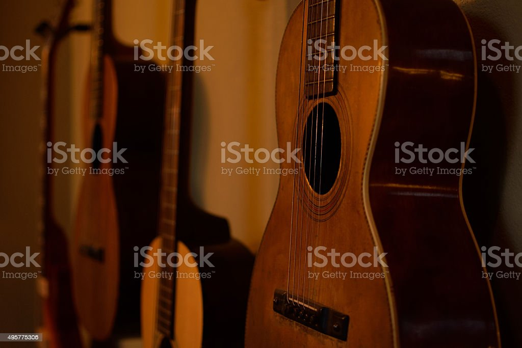 Old Guitars In Morning Sun Stock Photo - Download Image Now