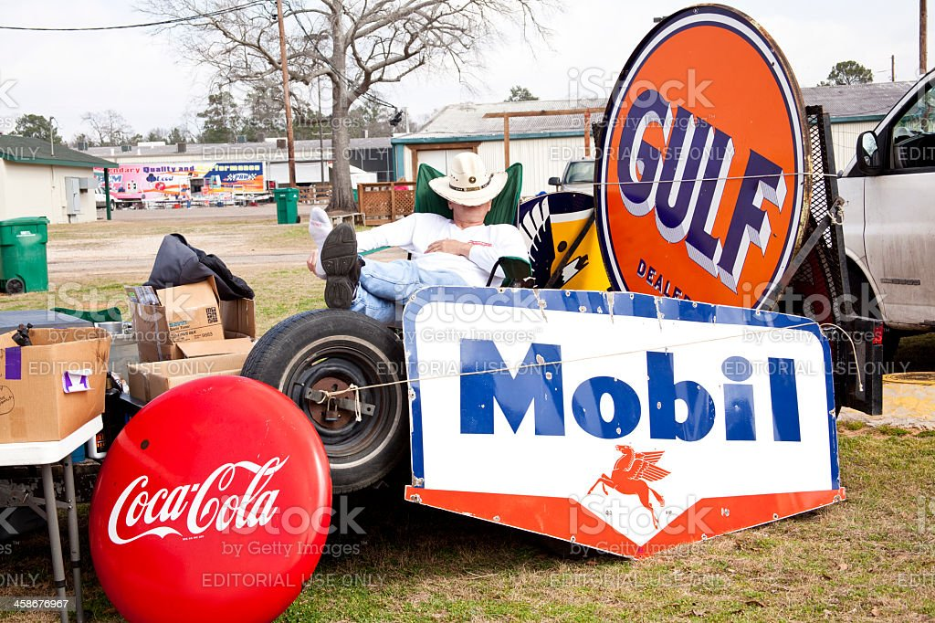 Conroe Swap Meet >> Old Gulf Mobil And Cocacola Signs For Sale Stock Photo ...