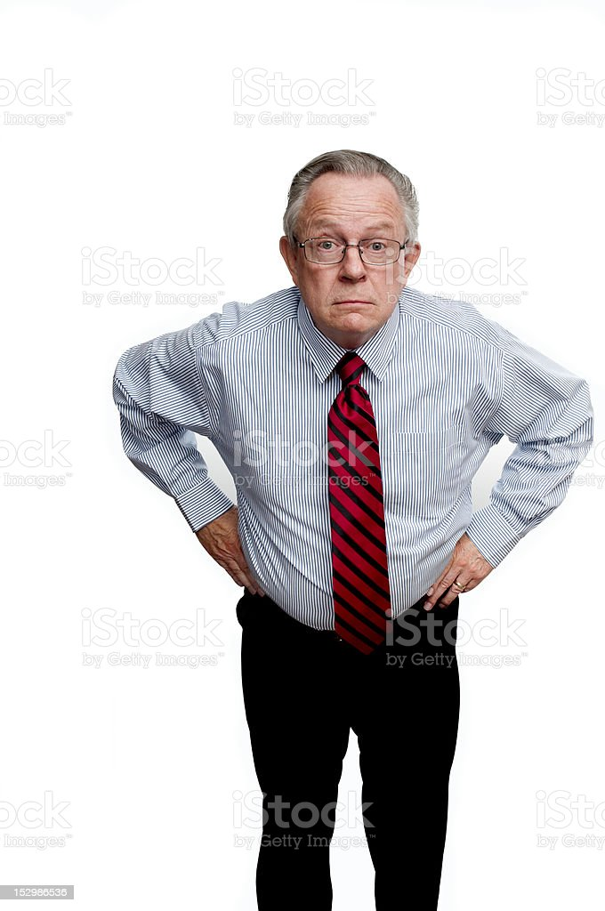 Old Guy Standing and Confronting or Arguing stock photo