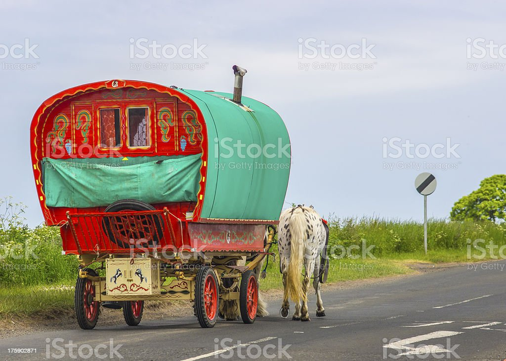 Old Gypsy Caravan stock photo