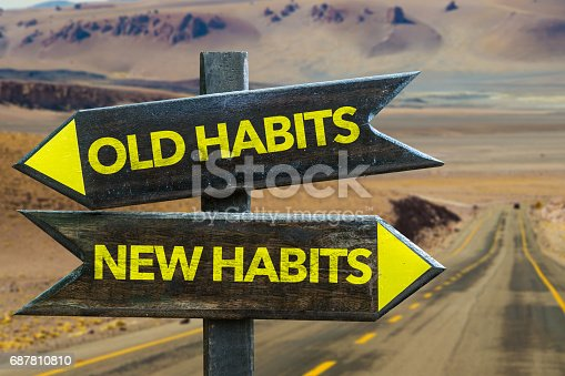 istock Old Habits - New Habits signpost 687810810