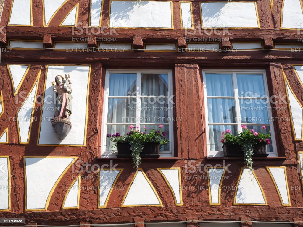 Old half timber house in the historical city center of Mainz royalty-free stock photo