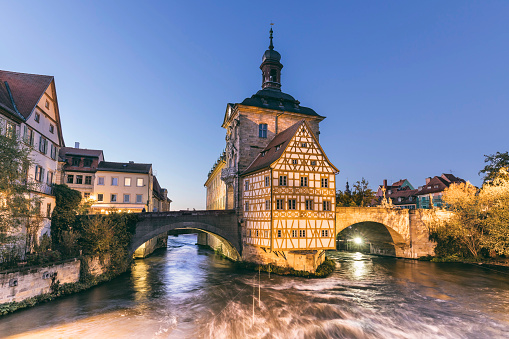 Old half timbered townhall in Bamberg Germany at night