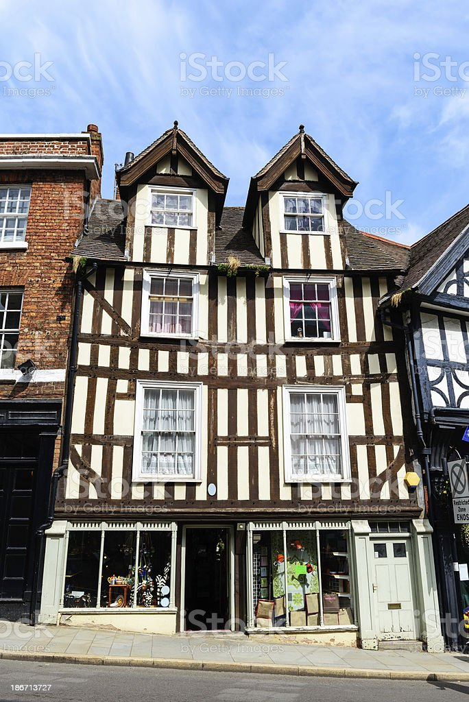 Old half-timbered shop building in Shrewsbury stock photo