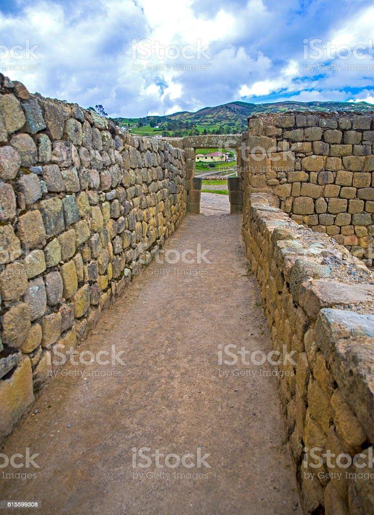 Old hallway at Ingapirca ruins stock photo