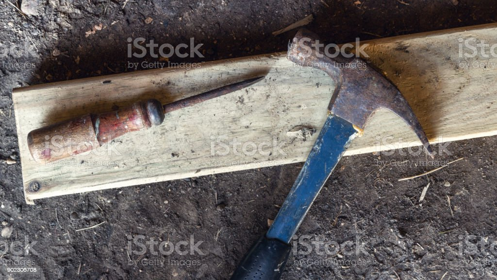 Old Hammer and Screwdriver stock photo
