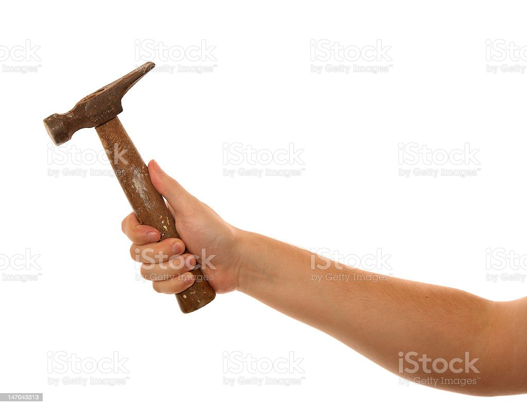 Old Hammer in Hand stock photo