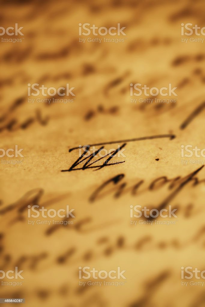 Old Hand Lettering stock photo