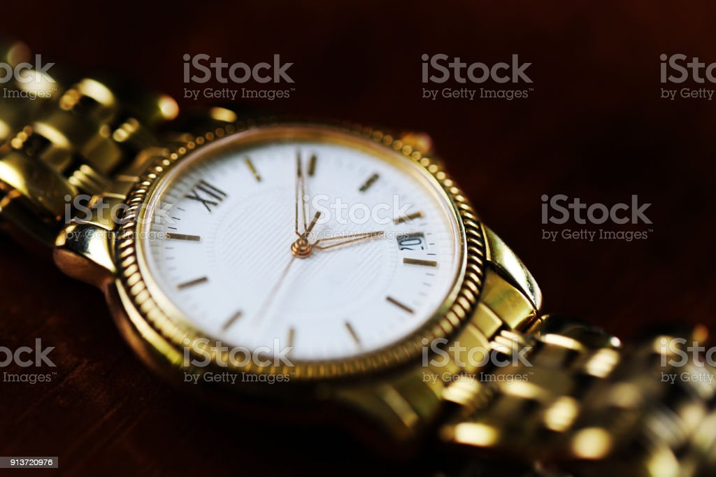 Old hand watch for man vintage style close up black and white
