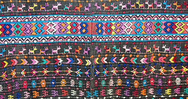 Old Handwoven Guatemalan textile stock photo