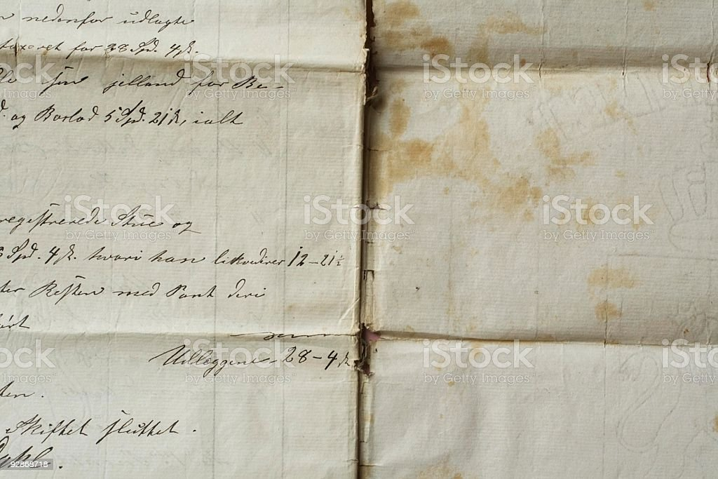 Old handwriting  grungy paper backgrounds. royalty-free stock photo