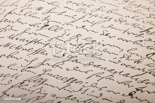 istock Old handwriting, vintage leter. 1033542596