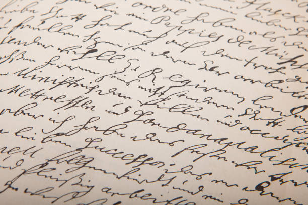 Old handwriting, vintage leter. Handwriting. Seamless vector background. Anglo American stock pictures, royalty-free photos & images