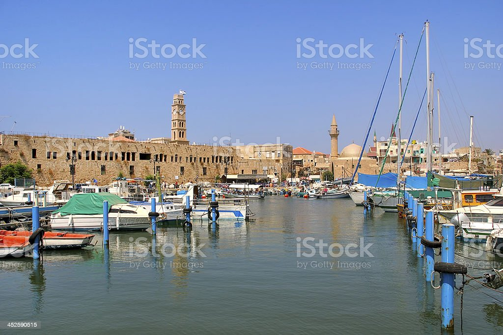 Old harbor. Acre, Israel. stock photo