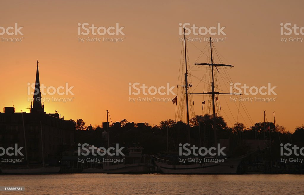Old Harbor at Sunset royalty-free stock photo