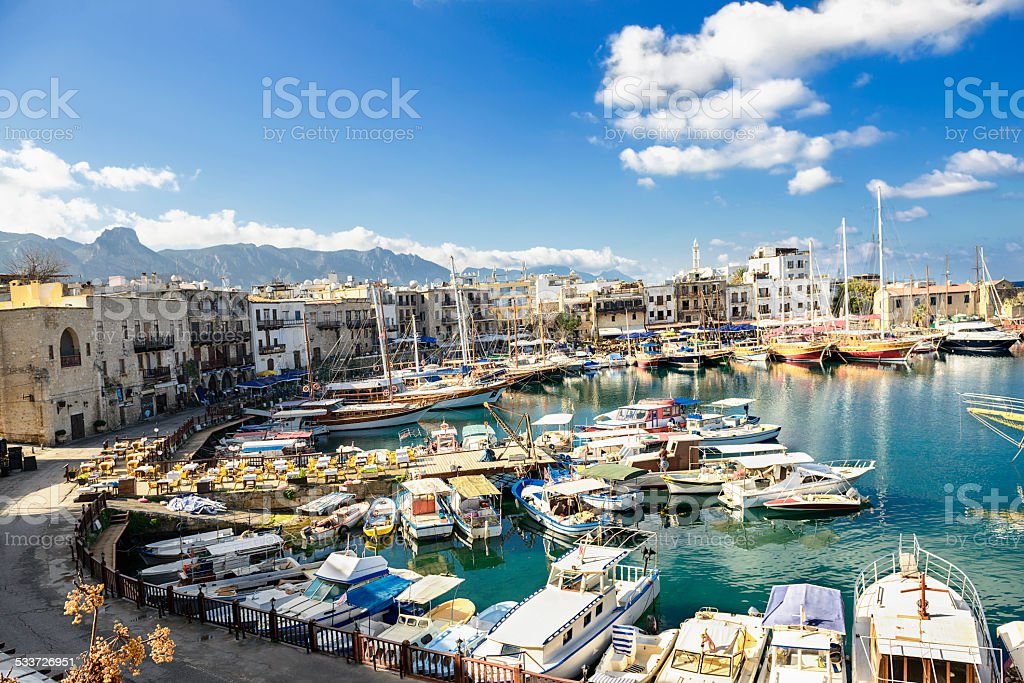 Old harbor in Kyrenia (Girne), Turkish Republic of Northern Cyprus. stock photo