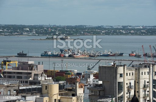 Montevideo, Uruguay - March 3 2016: Aerial view of the harbor island and shipyard