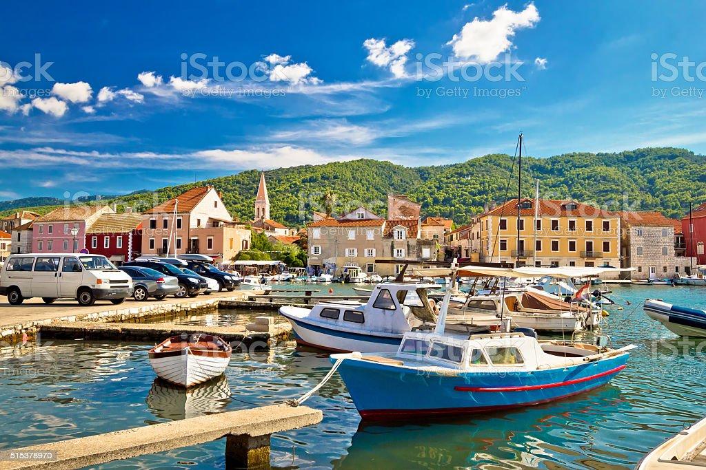 Old harbor of Stari Grad stock photo