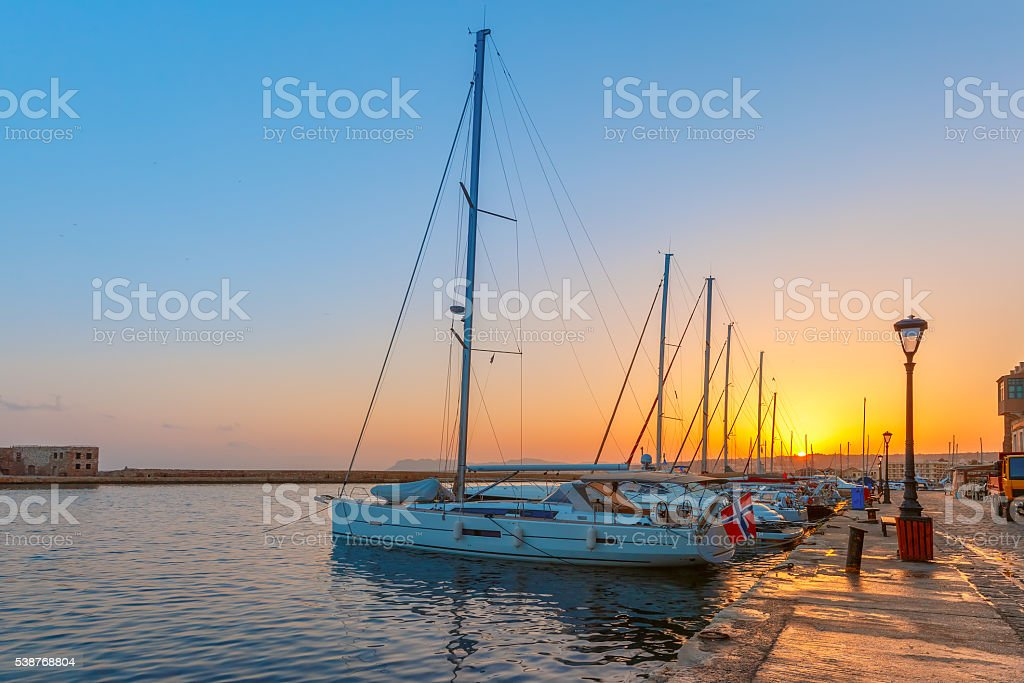 Old harbour at sunset, Chania, Crete, Greece stock photo