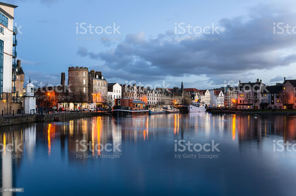 Old Harbour at Twilight and Reflection in Water stock photo