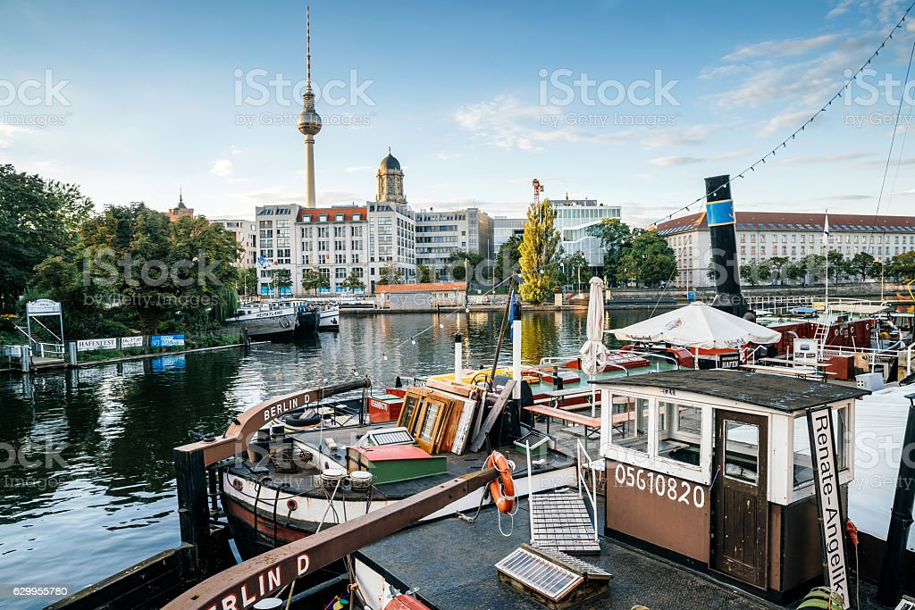 old harbour in Berlin with tv-tower in the background – Foto