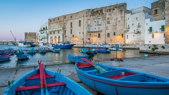 Old harbour in Monopoli at sunset, Bari Province, Puglia (Apulia), southern Italy.