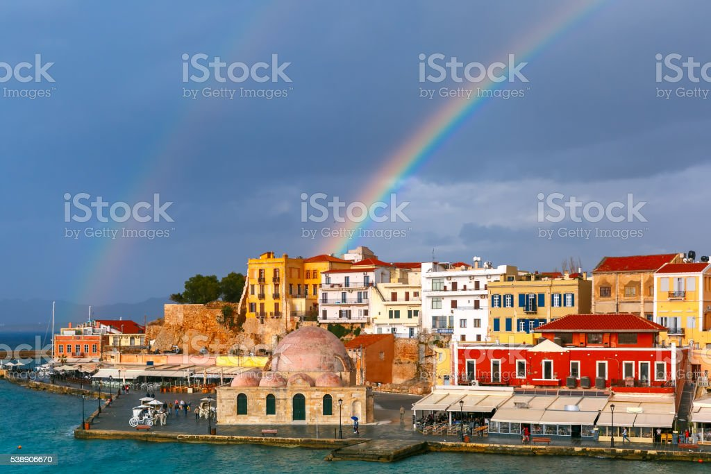 Old harbour in sunny day, Chania, Crete, Greece stock photo