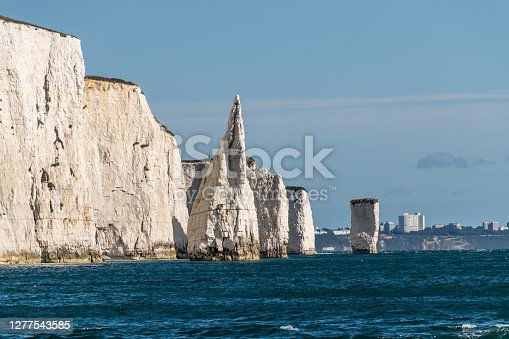 Old Harry Rocks from a boat, part of the Jurassic Coast in Dorset