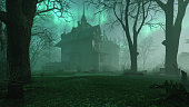 istock Old haunted abandoned mansion in creepy night forest with cold fog atmosphere, 3d rendering 1327837669
