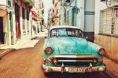 old havana and vintage car in cuba