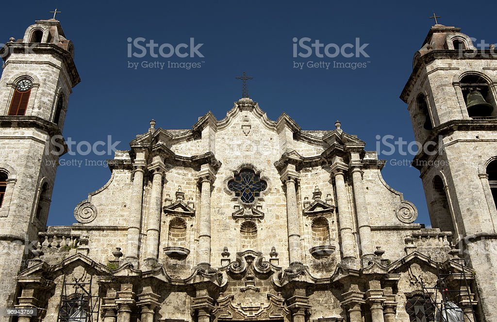 Old Havana Cathedral Church royalty-free stock photo