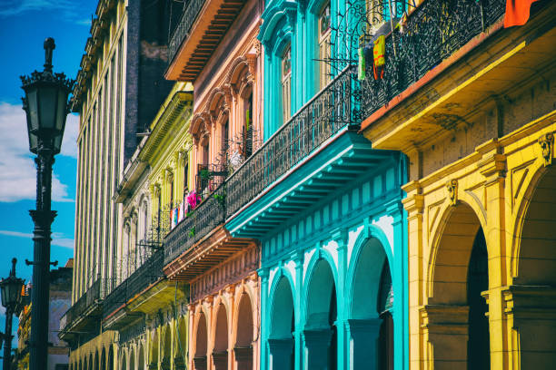 Old Havana Colorful Houses stock photo