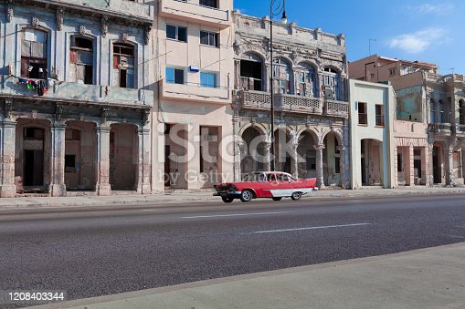 coastal road with old houses in old havana, cuba.