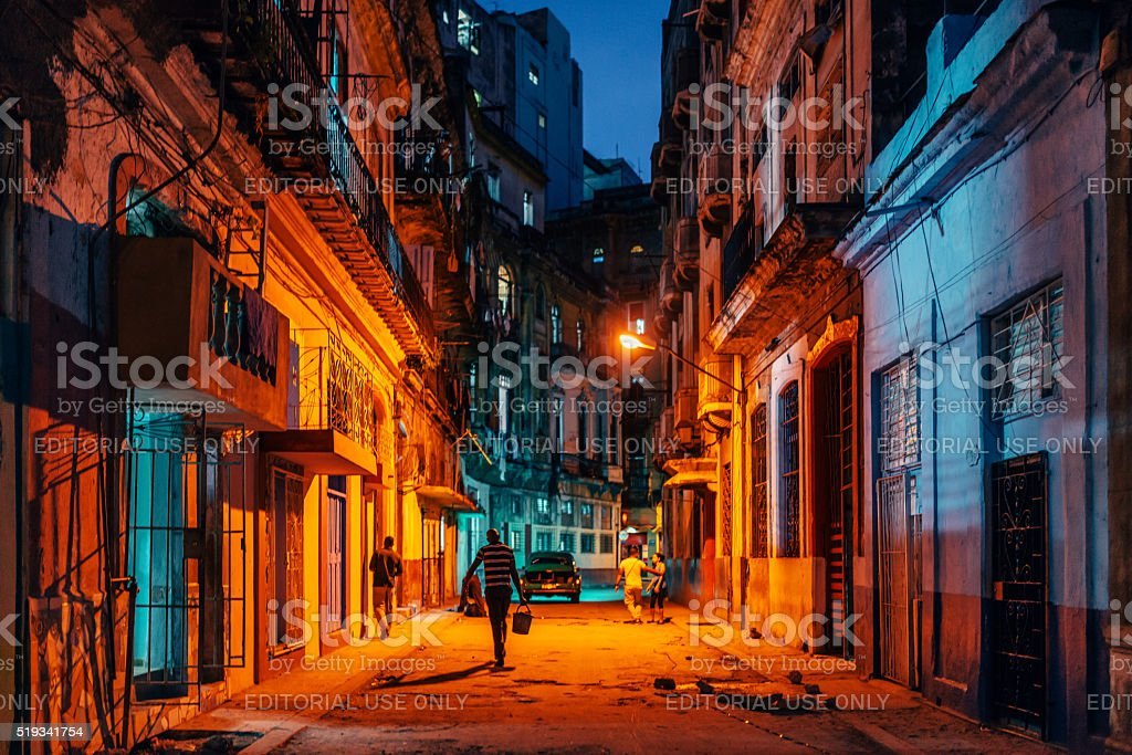 Old Havana streets by night stock photo