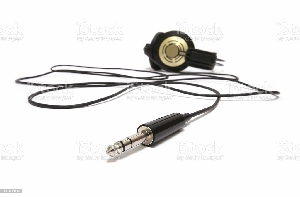 old headphone with cabel and connector stock photo