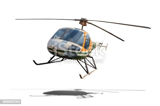istock Old helicopter isolated on white background with clipping path. 686865050