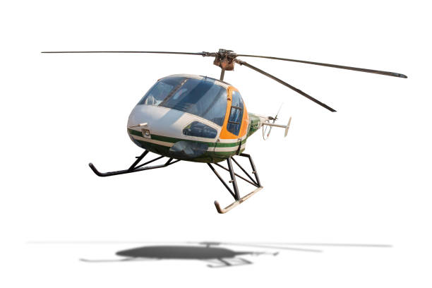 Old helicopter isolated on white background with clipping path. stock photo