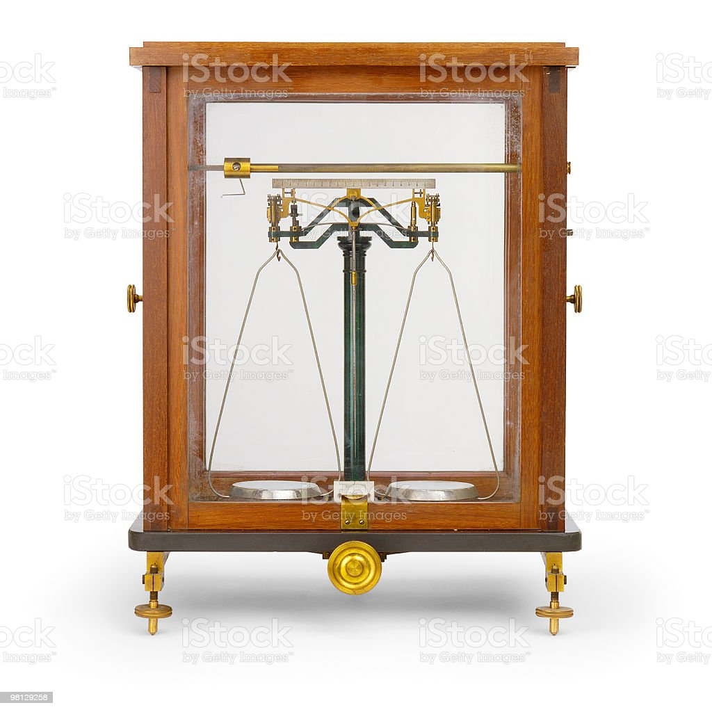 Old high precision balance made in Germany (Gottingen) by F.Sartorius royalty-free stock photo