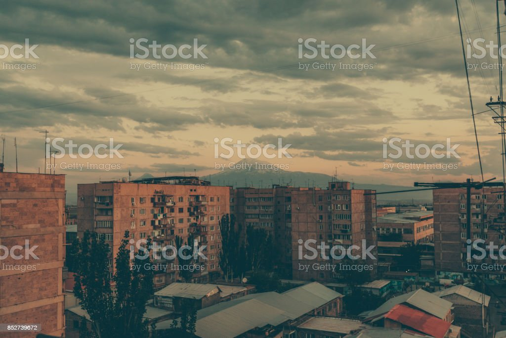 Old high-rise buildings in Yerevan, Armenia stock photo