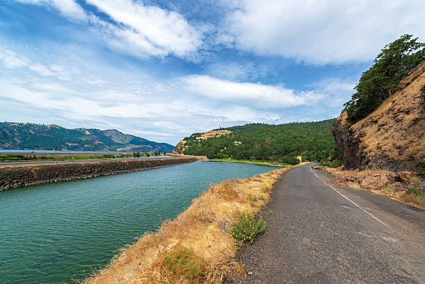 Old Highway 14 in Washington View of historic Highway 14 in the Columbia River Gorge on the Washington side oregon us state stock pictures, royalty-free photos & images