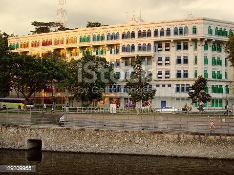 The Old Hill Street Police Station, a historic building and former police station of the Singapore Police Force located at Hill Street in the Central Area of Singapore. The building has a total of 927 windows and they are painted in the colours of the rainbow.
