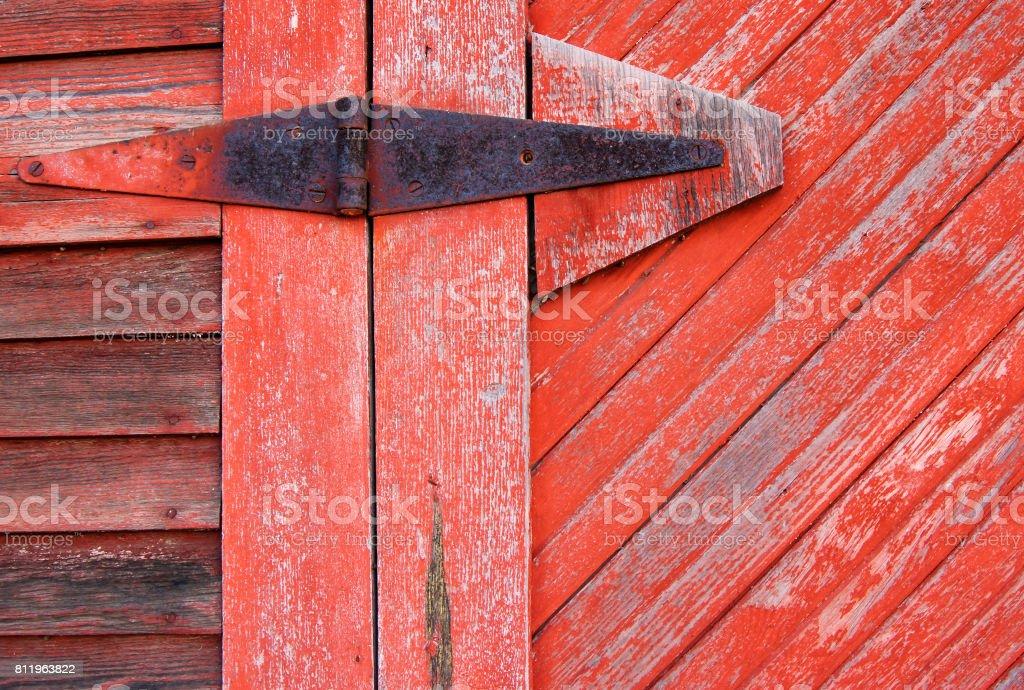 Old Hinge of Barn Door stock photo